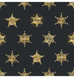 Sheriff Badges Seamless Pattern vector