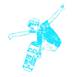 Skateboarder jumping isolated on white skates and vector