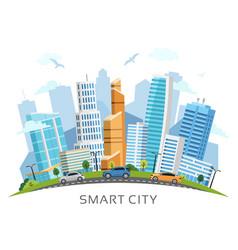 Smart city with skyscrapers arch landscape vector