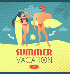 summer vacation surfers man and girl on beach vector image