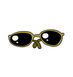 Sunglasses cartoon hand drawn image vector