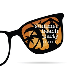 sunglasses with summer beach party with girl vector image