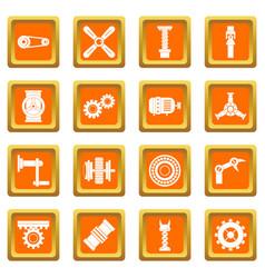 Techno mechanisms kit icons set orange vector