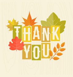 thank you headline with autumn leaves poster vector image