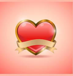Valentine heart badge flag emblem vector