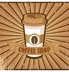 Vintage brown poster Coffee shop vector image