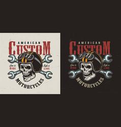 vintage custom motorcycle logotype vector image