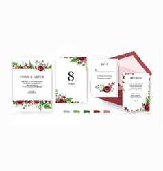 wedding invite invitation floral template set vector image