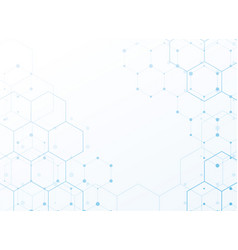 White background with blue tech hexagonal pattern vector