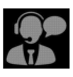 White halftone support manager message icon vector
