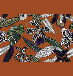 Wild exotic orchids and tropical leaves vector