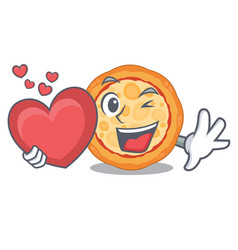 with heart cheese pizza in cartoon shape vector image