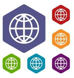 World rhombus icons vector