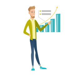 Young caucasian businessman pointing at chart vector
