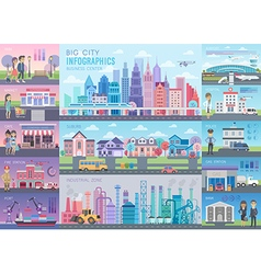 Big City Infographic set vector image