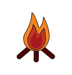 bonfire flame hot wooden warm icon vector image vector image