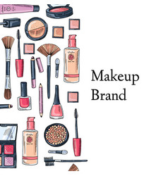 hand drawn makeup products vector image