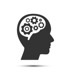 head with gears in brain object vector image vector image