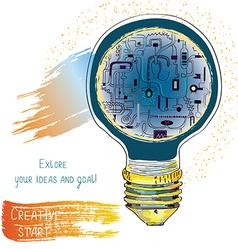 Light bulb technical idea banner for innovation or vector