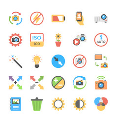 photography flat colored icons vector image