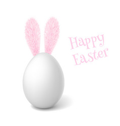 realistic easter egg with rabbit ears vector image vector image