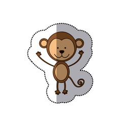 sticker colorful picture cute monkey animal vector image