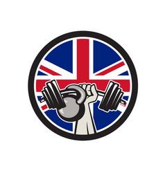 british hand lift barbell kettlebell union jack vector image vector image