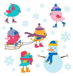 Cute birds winter vector image vector image