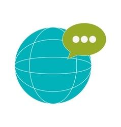 earth globe diagram and conversation bubble icon vector image vector image