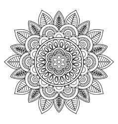 Ethnic boho doodle floral mandala vector image