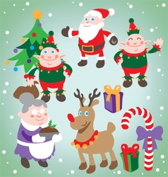 Festive Christmas Characters Set vector image