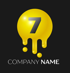 number seven splash logo yellow dots and bubbles vector image vector image
