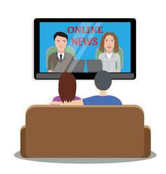 people watching news on tv vector image