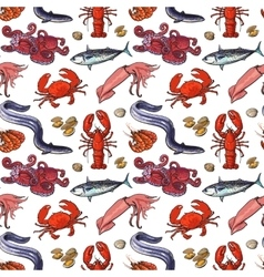 Seafood seamless pattern sketch style vector image