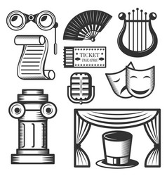set of classic theater isolated icons vector image