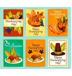 Thanksgiving Day greeting cards posters placards vector image