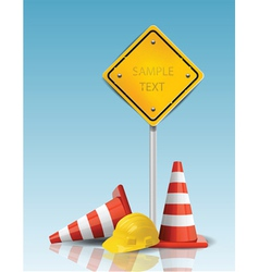 traffic cones and yellow sign with hard cap vector image vector image