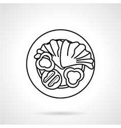 Vegetable salad black line icon vector image vector image