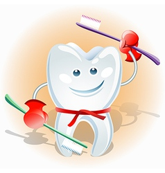 fighting tooth vector image vector image