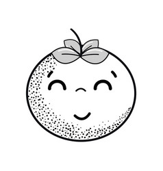 Hand drawn kawaii nice happy tomato vegetable vector