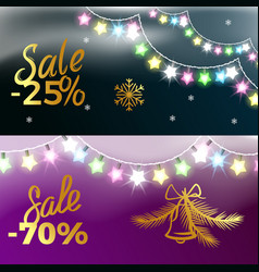 -25 and -70 sale new year vector image