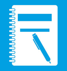 closed spiral notebook and pen icon white vector image