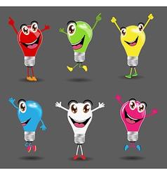 Creative light bulb ideas with cartoon character vector image