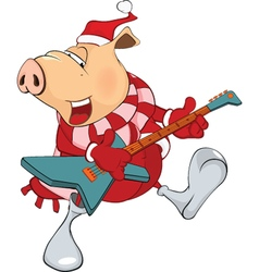 Cute Pig with Electric Guitar vector image