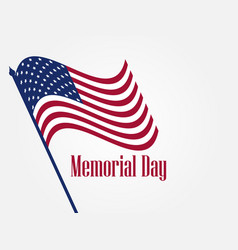 memorial day american flag on white background vector image