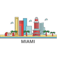 miami city skyline buildings streets silhouette vector image