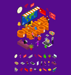online shop concept and elements part 3d isometric vector image vector image