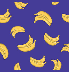 seamless pattern banana on purple background vector image vector image