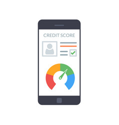smartphones with credit score app on the screen in vector image