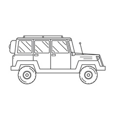 Suv Jeep Outline and Thin Line Icon vector image